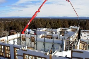 Picture of insulated concrete forms being constructed into a home